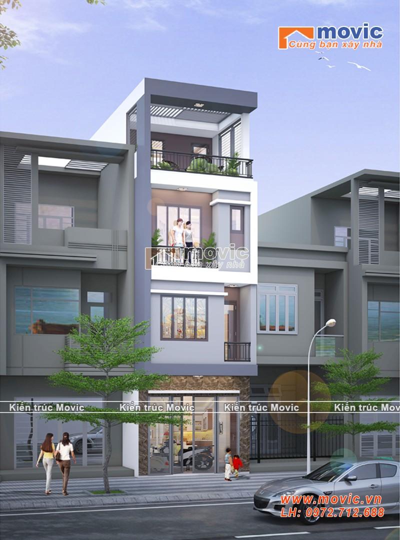 Mẫu thiết kế nhà phố hiện đại 4 tầng MV1866