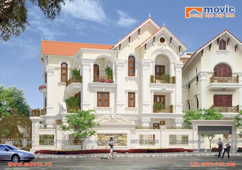 Mẫu biệt thự 3 tầng tân cổ điển đẹp, mái thái bề thế