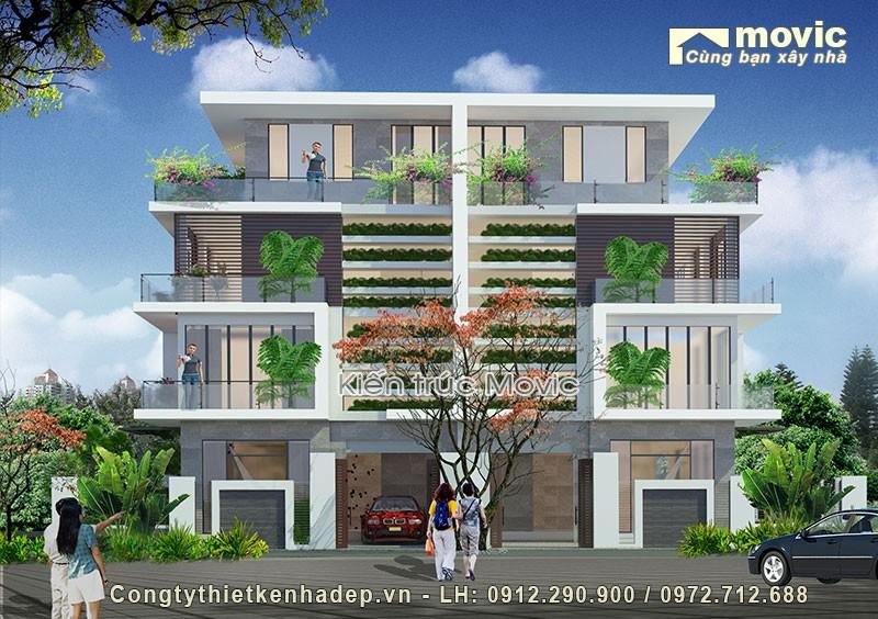 Phối cảnh biệt thự 4 tầng hiện đại MV1537
