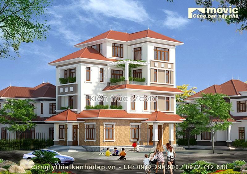 Biệt thự vườn 4 tầng hiện đại được thiết kế cho gia đình Ông Ngân ở Hòa Bình