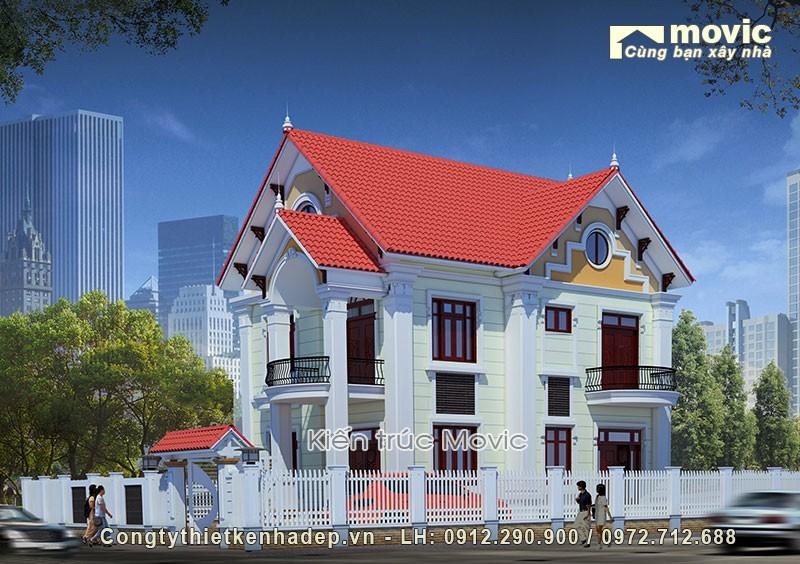 Mẫu thiết kế biệt thự 2 tầng có 2 mặt tiền từ Movic