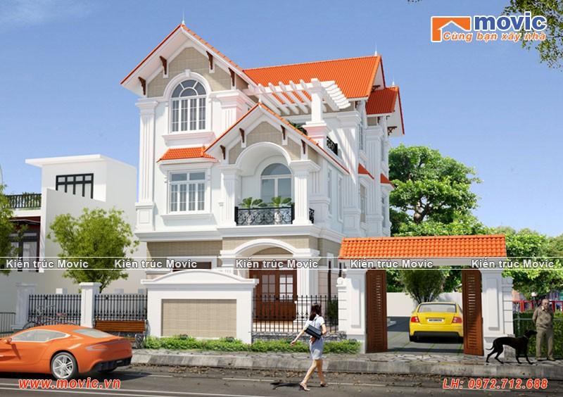 Mẫu biệt thự 3 tầng mái thái đẹp, đơn giản 4 phòng ngủ