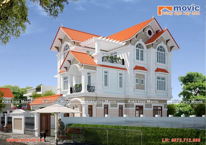 Mẫu biệt thự 3 tầng tân cổ điển đẹp, mái thái đơn giản 4 phòng ngủ