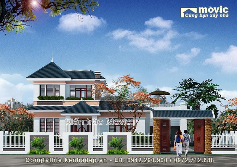 Mẫu thiết kế biệt thự vườn 2 tầng mái thái MV1513