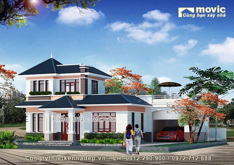 Mẫu nhà mái thái 2 tầng biệt thự vườn mái thái