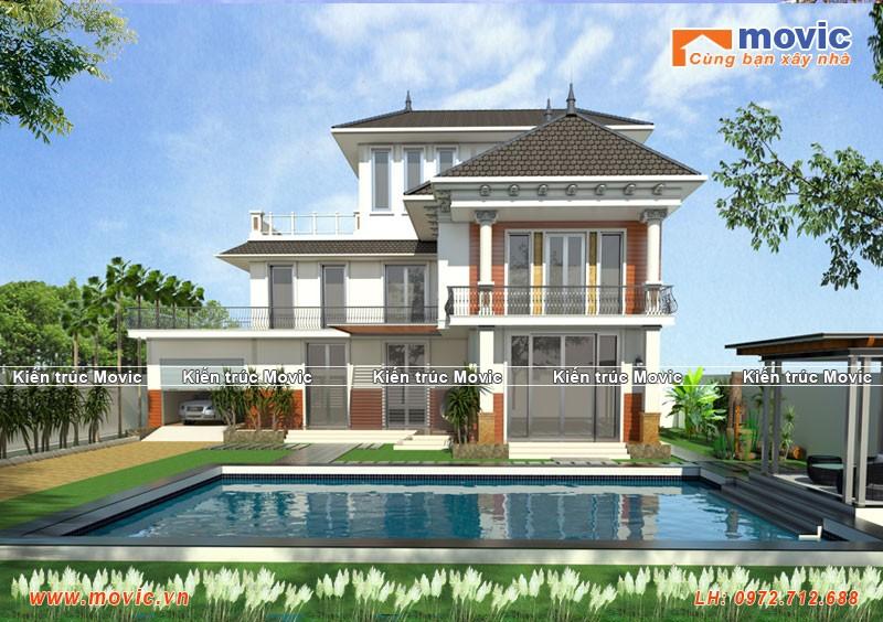 Mẫu nhà biệt thự 3 tầng có bể bơi MV1515