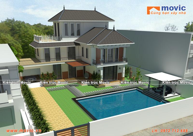 Mẫu biệt thự nhà vườn 3 tầng chữ L có bể bơi MV1515
