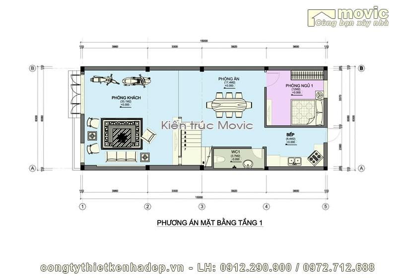 Mặt bằng thiết kế mẫu nhà phố hiện đại đại BT1743