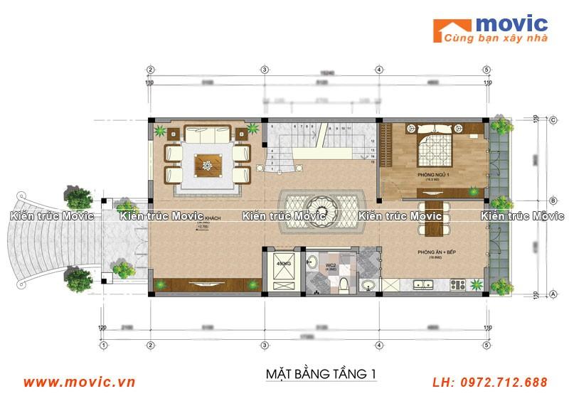 Thiết kế mặt bằng tầng 1 cho lâu đài 4 tầng Hưng Yên
