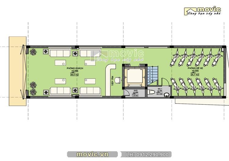 Mặt bằng thiết kế nội thất tầng 1 mẫu LP1612