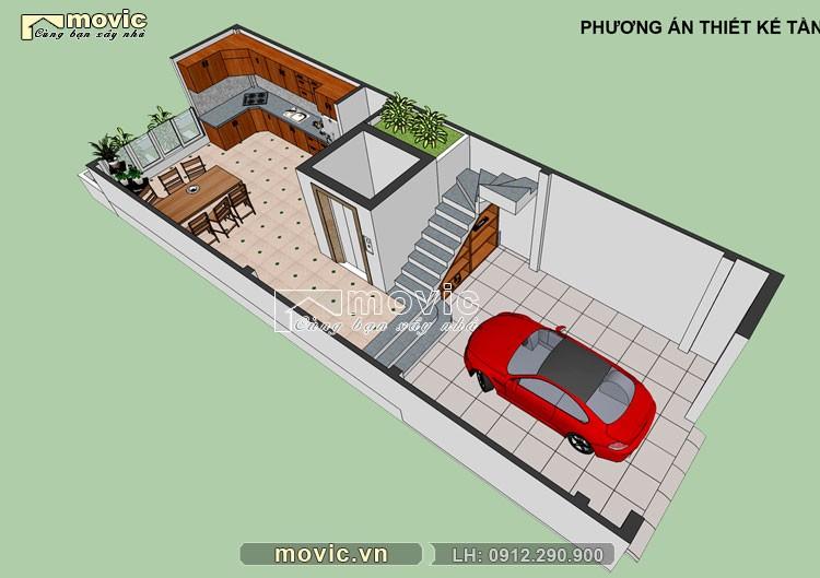 Phối cảnh nội thất tầng 1 mẫu nhà phố 5x20m 4 tầng