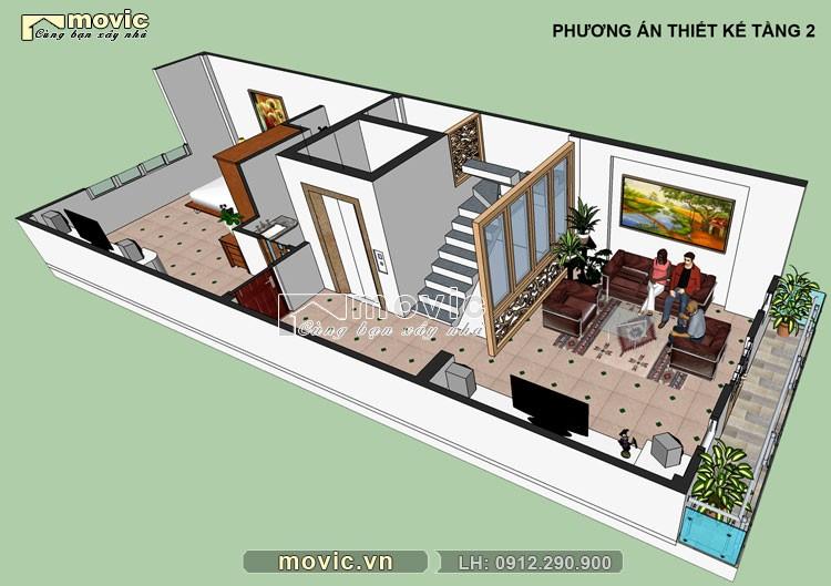 Phối cảnh nội thất tầng 2 mẫu nhà phố 5x20m 4 tầng hiện đại