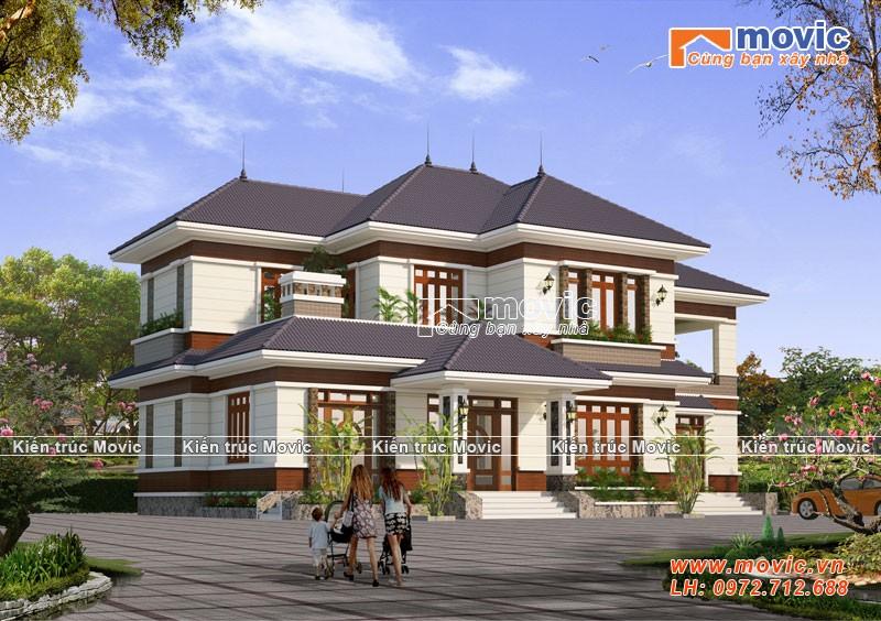 Mẫu biệt thự 2 tầng mái thái đẹp, hiện đại, 5 phòng ngủ MV18243