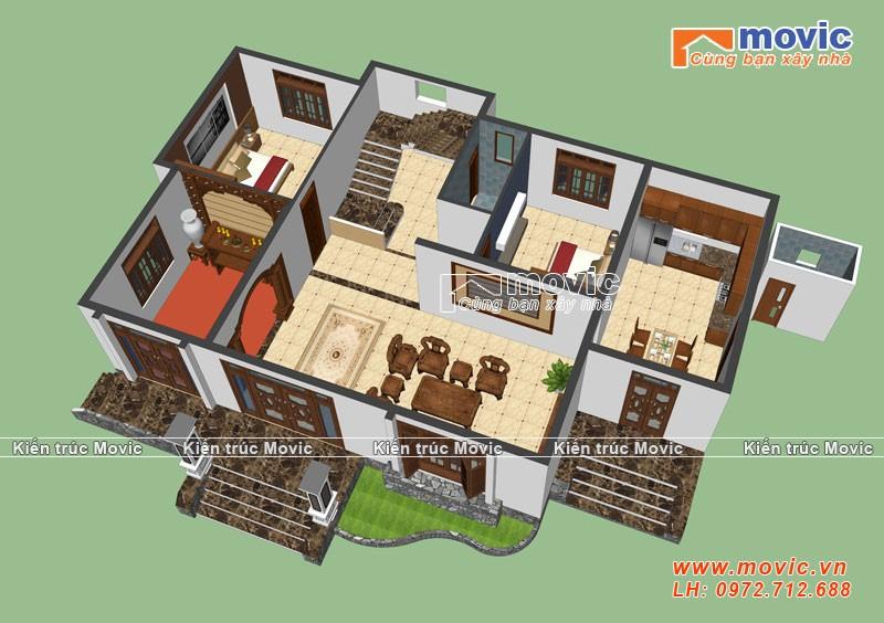 Bản vẽ thiết kế sơ bộ về mẫu biệt thự 2 tầng mái thái đẹp, hiện đại, 5 phòng ngủ