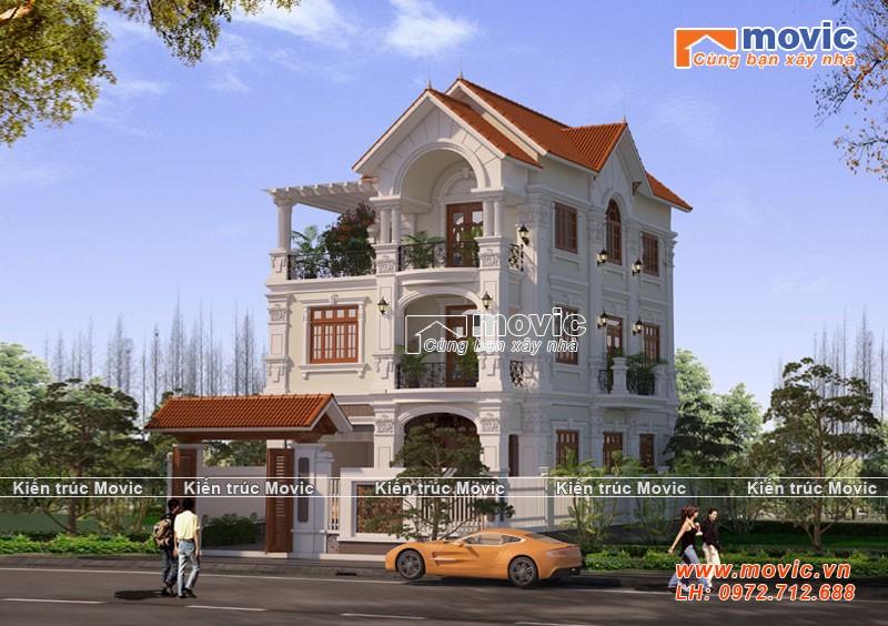 Mẫu nhà đẹp 3 tầng mái thái cổ điển đẹp tại Hà Nội