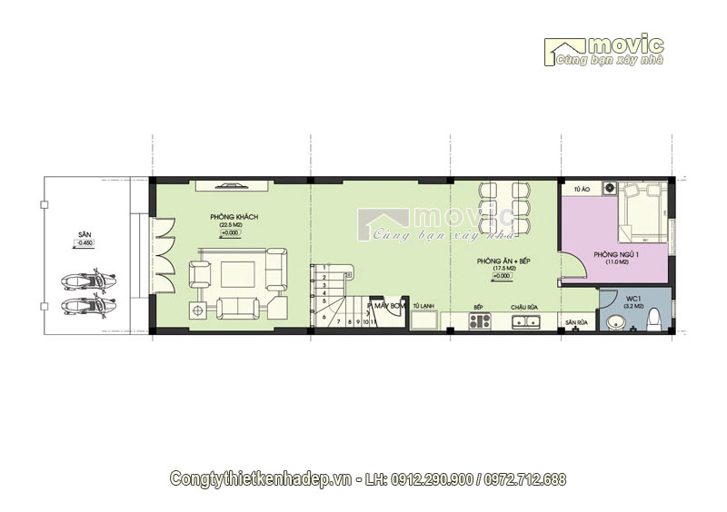Mặt bằng thiết kế tầng 1 mẫu nhà phố 5x20m 3 tầng