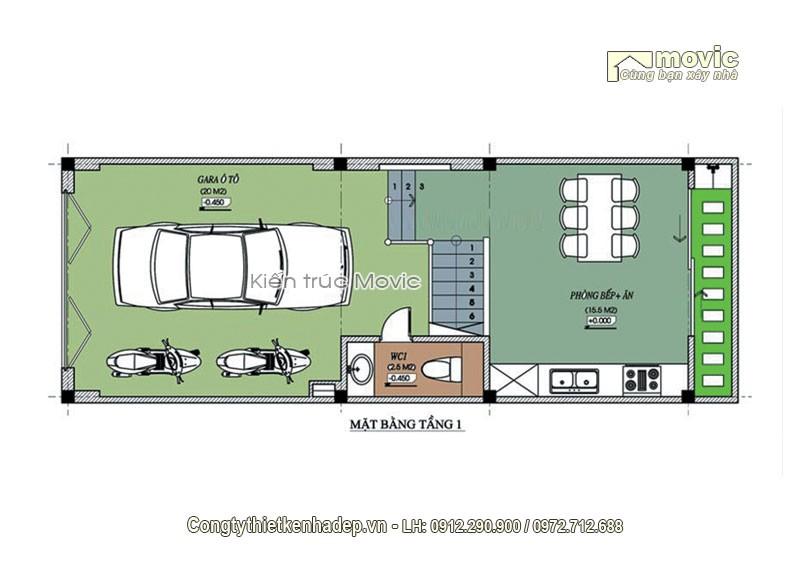 Mặt bằng thiết kế nội thất mẫu nhà phố MP1607