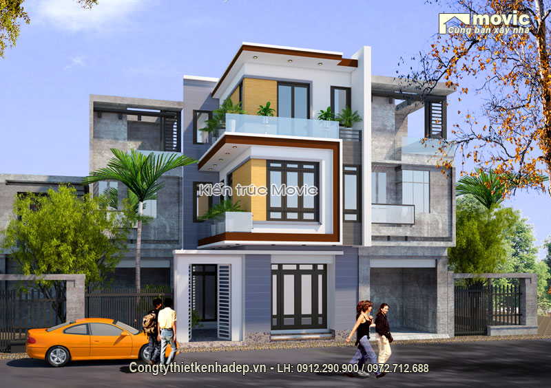Nhà lô phố hiện đại 3 tầng LP1713