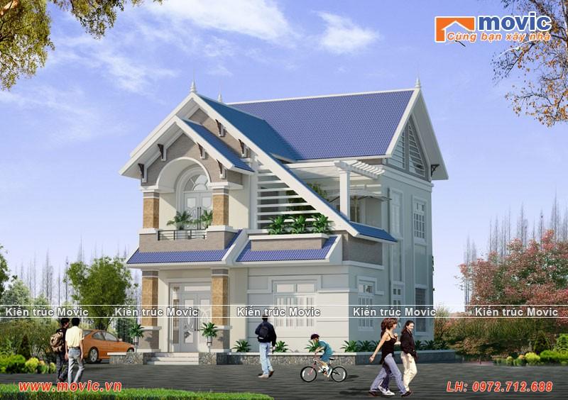 Biệt thự phố 2 tầng mái thái đẹp hiện đại