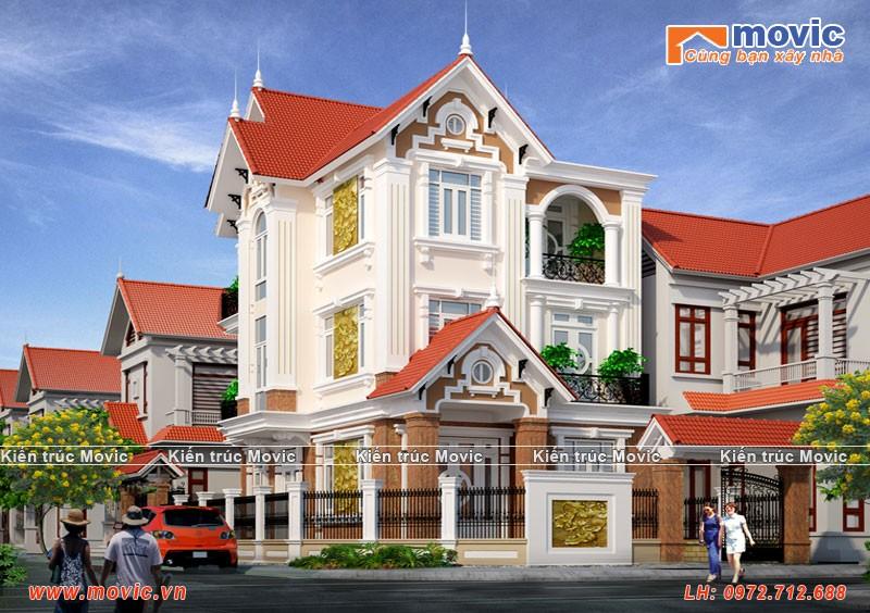 Biệt thự 3 tầng tân cổ điển đẹp, mái thái sang trọng, bề thế 2 mặt tiền