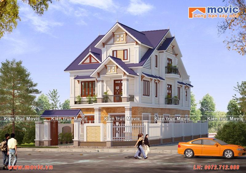 Mẫu biệt thự 3 tầng mái thái đẹp, hiện đại mặt tiền 7m
