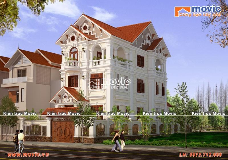 Mẫu biệt thự 3 tầng mái thái đẹp, tân cổ điển, mặt tiền 7,5m