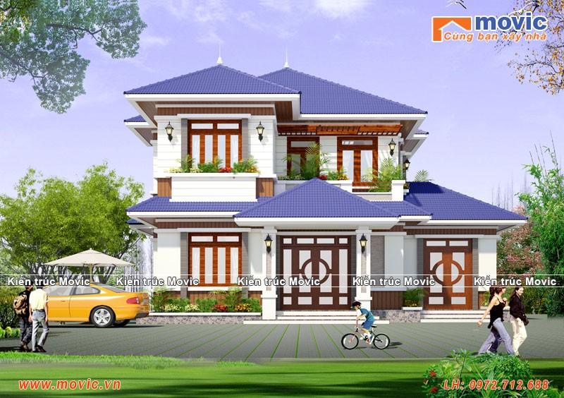 Biệt thự 2 tầng mái thái được thiết kế cho Anh Duy ở Hưng Yên