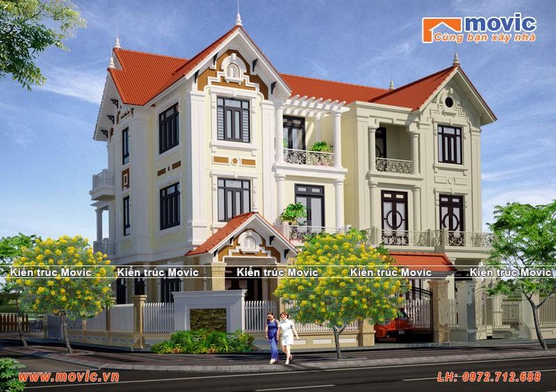 Mẫu biệt thự 3 tầng mái thái tân cổ điển