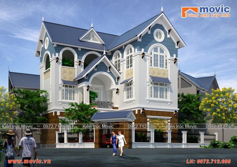 Biệt thự 3 tầng chữ L mái thái thiết kế cho Ông Tùng ở Hà Nội