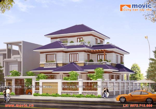Các kiểu biệt thự 3 tầng mái thái đơn giản