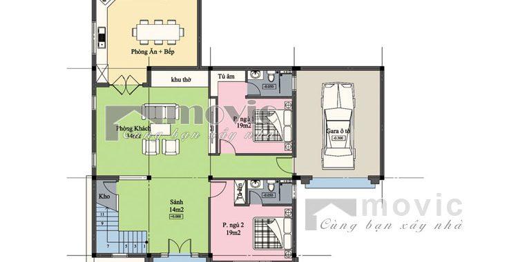 Chi tiết mặt bằng tầng 1 mẫu biệt thự 2 tầng mái thái