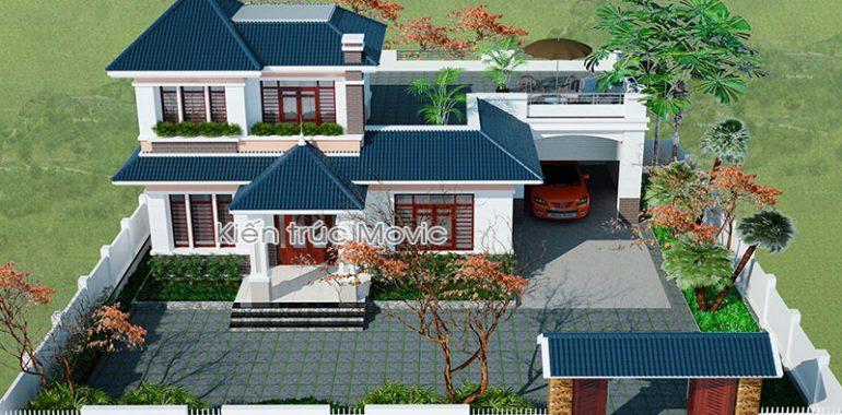 Mẫu biệt thự nhà vườn 2 tầng mái thái được nhiều người ưa thích