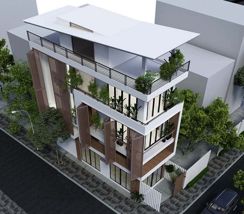 Mẫu nhà phố 3 tầng 1 tum 4x12m hiện đại