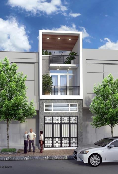 Mặt tiền mẫu nhà phố 5x20 hiện đại
