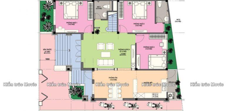 Căn nhà được bố trí các phòng ngủ khoa học và hợp lý