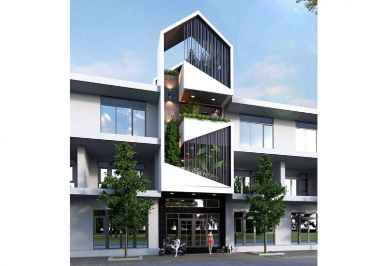 Mẫu nhà phố mặt tiền 5m thiết kế ban công sáng tạo