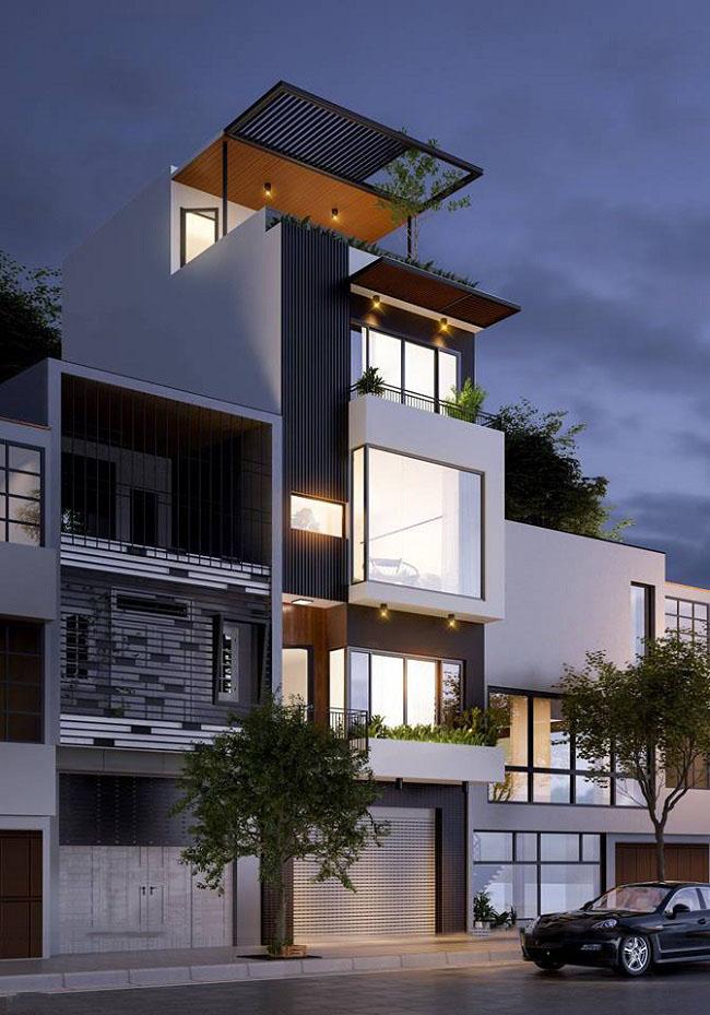 Hình ảnh phối cảnh ban đêm nhà phố 5x10m 4 tầng 1 tum phong cách hiện đại