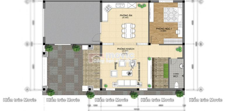 Mặt bằng thiết kế tầng 1 căn biệt thự nhà vườn 4 phòng ngủ