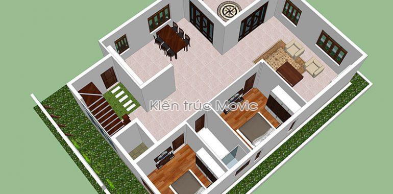 Phối cảnh mặt bằng tầng 1 căn nhà vườn mái thái