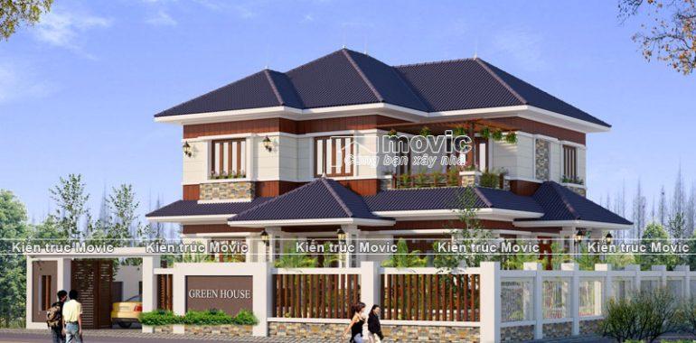 Mẫu nhà vườn 2 tầng mái thái hiện đại
