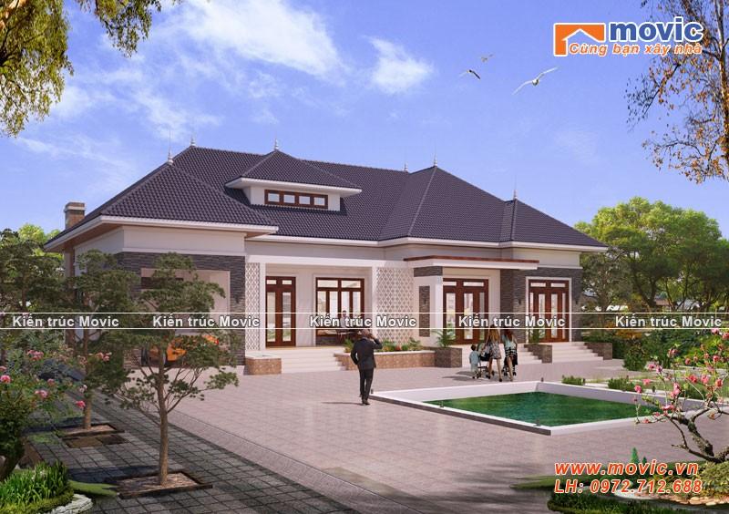 Biệt thự hiện đại 1 tầng được thiết kế cho Ông Kiên tại Hải Phòng
