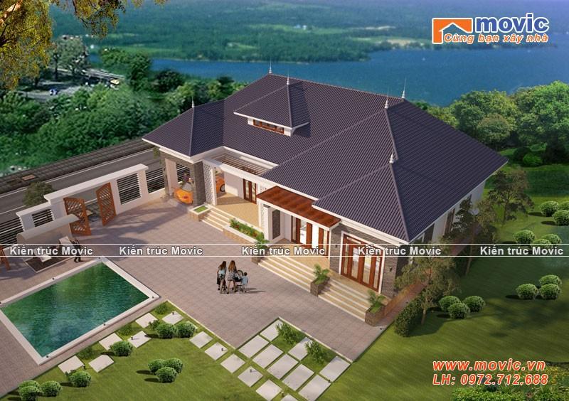 Ngôi biệt thự hiện đại được thiết kế hồ bơi ở giữa