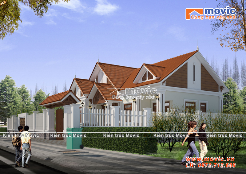 Thiết kế biệt thự 1 tầng nổi bật với phong cách Thái