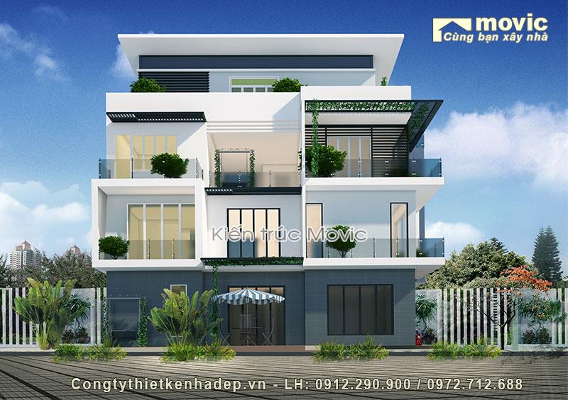Biệt thự hiện đại 4 tầng mái thái sang trọng
