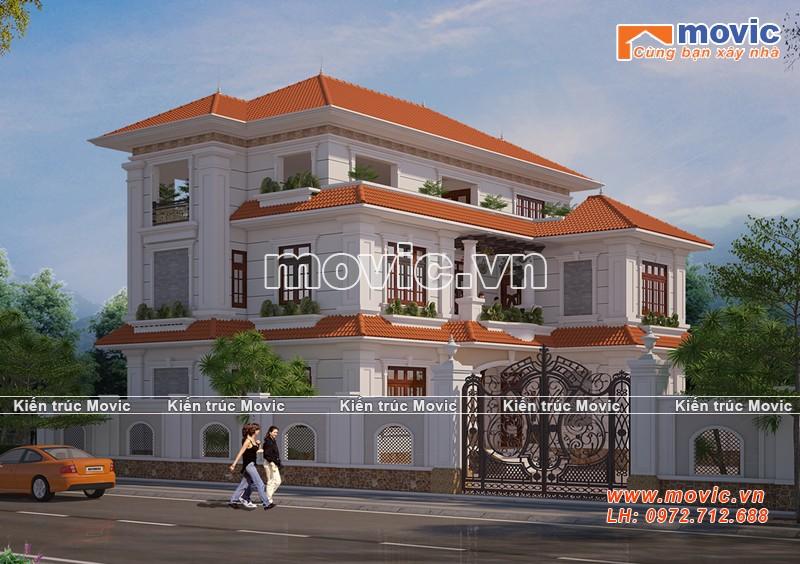 Mẫu biệt thự 3 tầng tân cổ điển mái thái đẹp xuất sắc