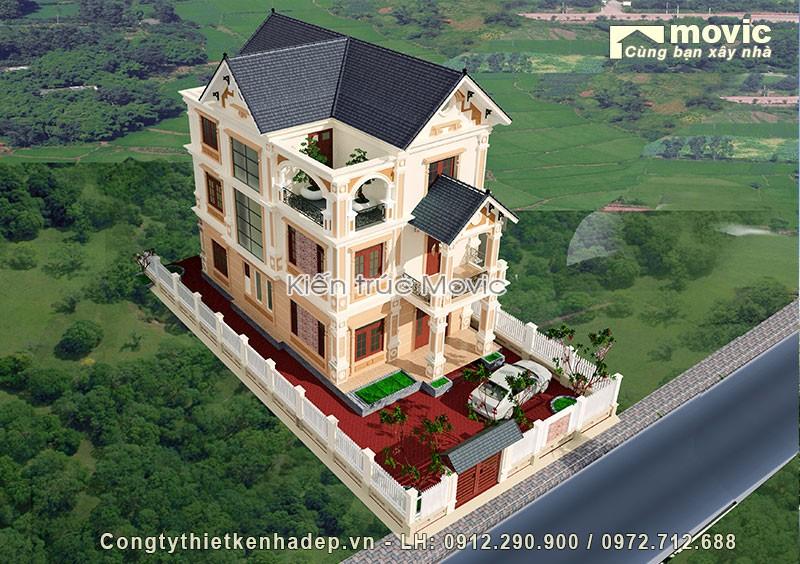Mẫu nhà 3 tầng đẹp tân cổ điển mái thái đơn giản