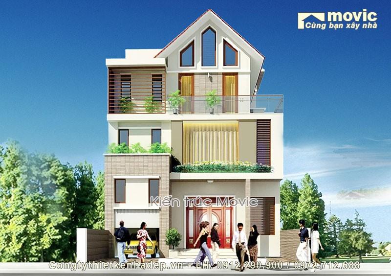 Biệt thự mini 3 tầng mái thái, 4 phòng ngủ