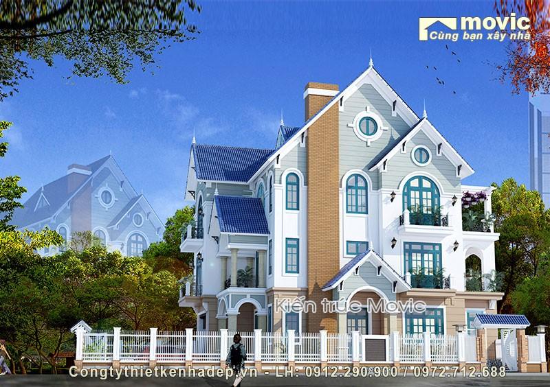 Biệt thự 4 tầng mái thái hiện đại nông thôn đẹp