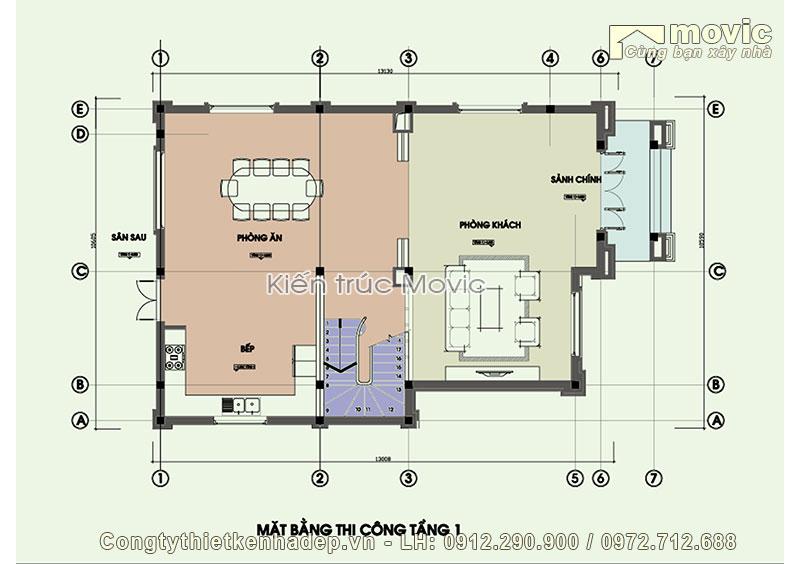 Mặt bằng tầng 1 trong mẫu biệt thự 3 tầng 3 phòng ngủ