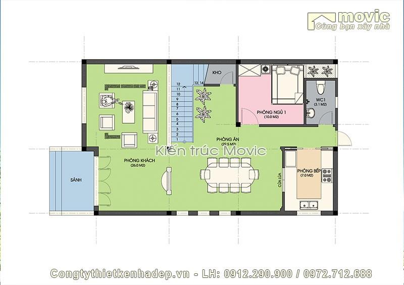 Mặt bằng tầng 1 của biệt thự mini 3 tầng mái thái